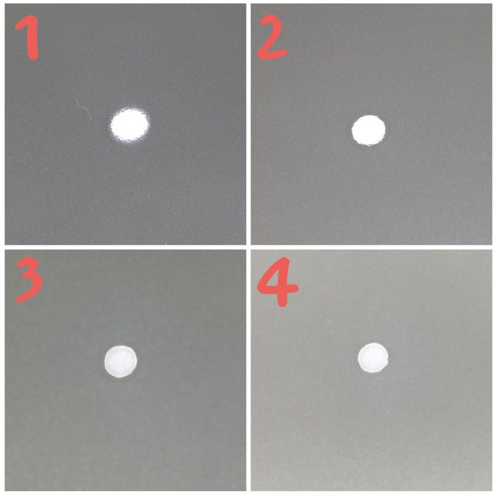 1- Mặt sơn zin xe mới | 2- Sau khi được đánh bóng | 3 Sau khi phủ lớp Ceramic | 4 Sau khi phủ hoàn thiện Nano X