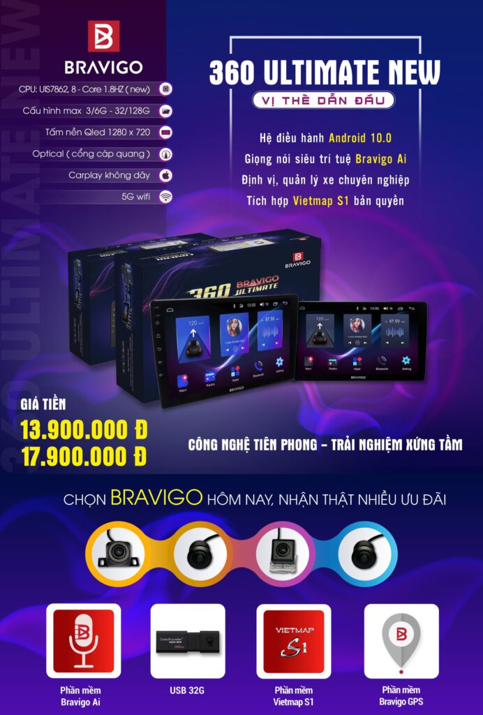 Bản giá niêm yết màn hình Bravigo 360 Ultimate